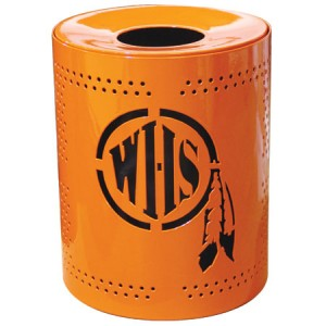 Discount 32 Gallon Personalized Perforated Trash Receptacles For Sale. Trash Cans Sold Factory Direct Guarantees Lowest Price
