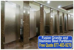 High End Fusion Granite and Stainless Steel Restroom Partitions For Sale Direct From The Factory Saves You Money Today!