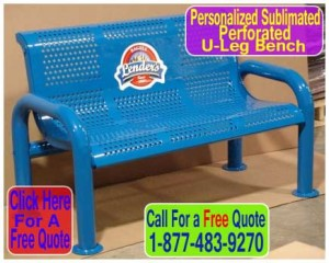 Discount Personalized Sublimated Perforated U-Leg Benches For Sale Direct From The Factory With Your Logo Or Words