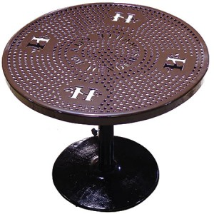 Wholesale Custom Round Perforated Pedestal Picnic Table For Sale Manufacturer Direct Guarantees Lowest Price