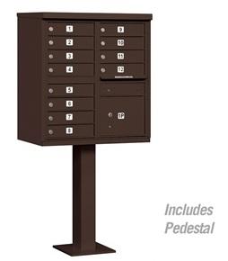 12 Door Cluster Mail Box Unit with Parcel Locker