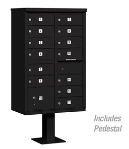 13 Door Cluster Mail Box Unit with Parcel Locker