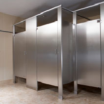 Bathroom Partitions - Stainless Steel-Floor Mounted Overhead Braced