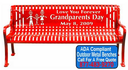 ADA Compliant Custom Personalized Metal Park Benches For Sale