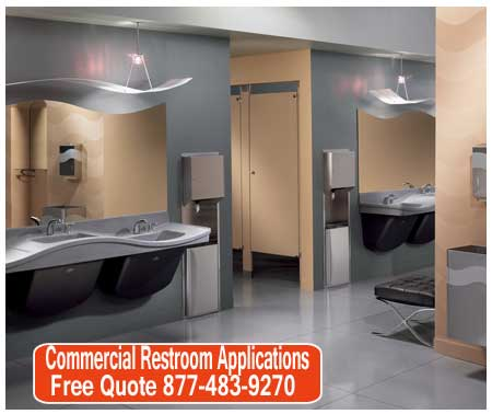 Commercial Bathroom Applications For Sale - Lavatories, Hand Dryers, Soap Dispensers, Shower Stalls & Restroom Partiti0ons