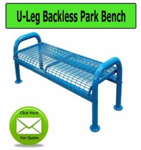 U-Leg-Backless-Park-Bench
