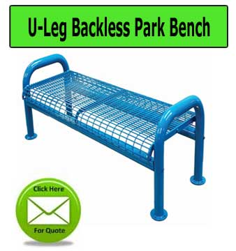 Heavy Duty Metal U Leg Backless Park Benches Ideal For Hoa