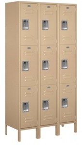 Recreational Facility Extra Wide Three Tier Metal Lockers For Sale With Security Combination Lock Optional - For Sale Factory Direct For Lowest Price